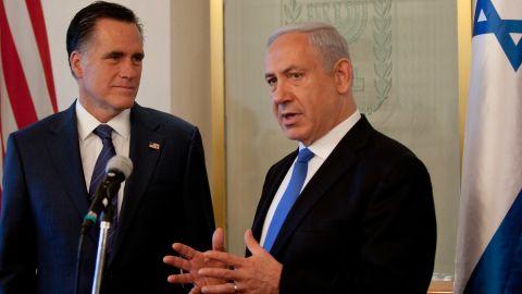 Israeli Prime Minister Benjamin Netanyahu and candidate Mitt Romney speak before a meeting this week in Jerusalem.