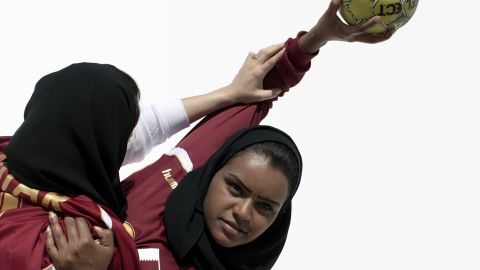Members of Qatar's handball team.