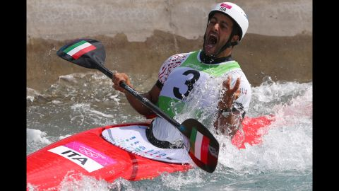 Daniele Molmenti of Italy celebrates winning the gold medal in the men's kayak single final.