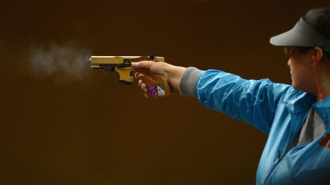 Ying Chen of China competes in the women's 25-meter pistol shooting final.