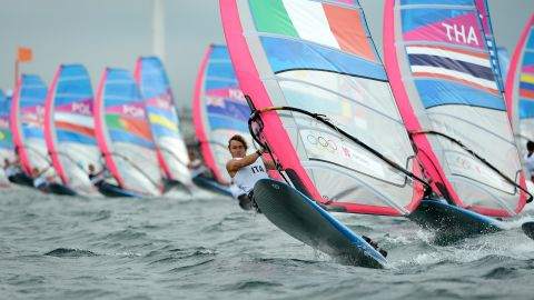 Italy's Federico Esposito leads the fleet in the RS:X sailing class in Weymouth.
