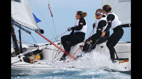 Kate Macgregor, left, Annie Lush and Lucy Macgregor of Great Britain compete in the Women's Elliott 6-meter WMR sailing event.