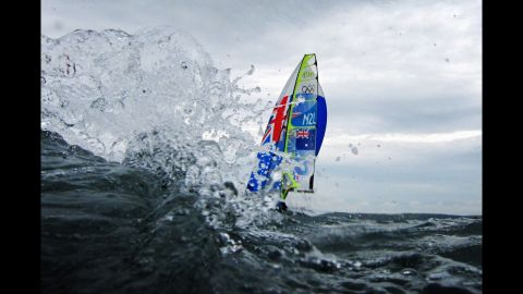 Peter Burling and Blair Tuke of New Zealand take part in the men's 49er sailing competition.