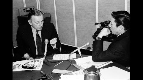 """Vidal with Mike Wallace in the CBS newsroom in 1978. Vidal would refer to himself as a once-famous novelist relegated to going on television because people """"seldom read anymore."""""""