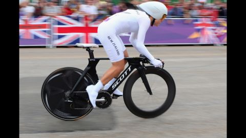 New Zealand's Linda Melanie Villumsen in action during the women's individual time trial road cycling in London.