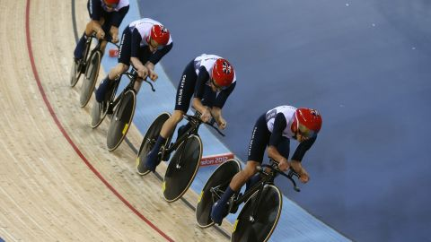 Edward Clancy, Geraint Thomas, Steven Burke and Peter Kennaugh of Great Britain compete in the Men's Team Pursuit Track Cycling final on Day 7 of the London 2012 Olympic Games at Velodrome on August 3, 2012 in London, England. (Photo by Ezra Shaw/Getty Images)