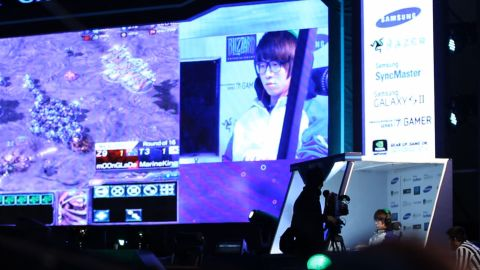 """Professional """"StarCraft II"""" player MarineKing competes at the World Cyber Games."""
