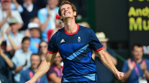 Great Britain's Andy Murray celebrates after winning the men's singles gold medal match, defeating Switzerland's Roger Federer in the London Olympics. It came 27 days after Murray lost to Federer in the Wimbledon final.