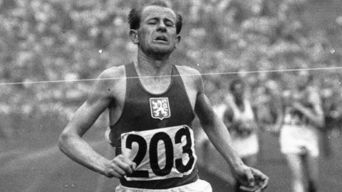 Zatopek wins the gold medal in the 10,000m at the 1948 Olympic Games in London -- his breakthrough victory.