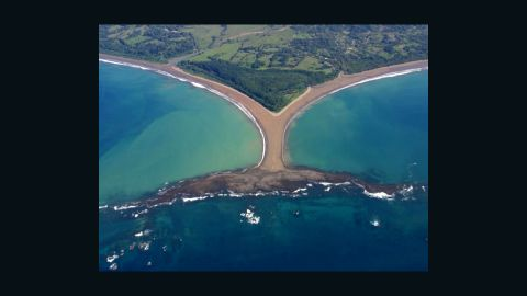"""The """"Whale Tail"""" is a natural formation on the Pacific Coast of Costa Rica. """"After the earthquake/tsunami that devastated Japan, effects were felt all the way to this town of Uvita,"""" writes iReporter Jamie O'Brien. It disappeared underwater for days before it re-emerged. (Hide the caption for a better view.)"""