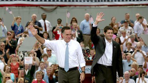 Mitt Romney, left, announces Rep. Paul Ryan as his running mate.