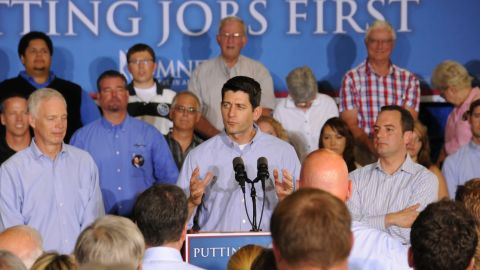 Ryan speaks while campaigning for Romney at a textile factory in Janesville, Wisconsin, on June 18, 2012.