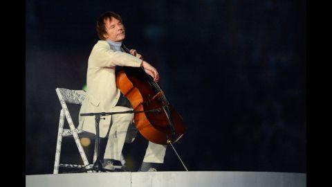 British cellist Julian Lloyd Webber performs.