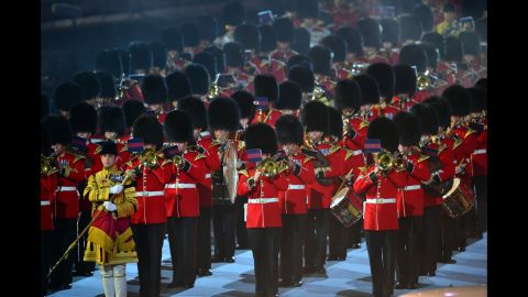 """The Household Division Ceremonial State Band perform the song """"Parklife,"""" originally done by the British rock band Blur."""