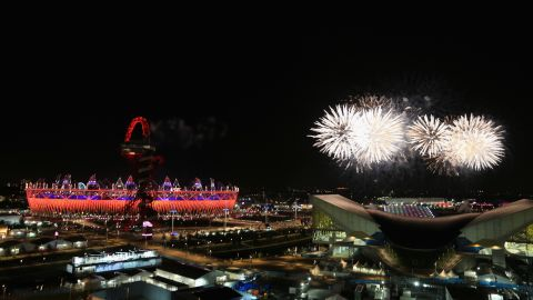 Fireworks light up the Olympic stadium during the closing ceremony of the London 2012 Olympics on Sunday, August 12. Check out photos from the opening ceremony.