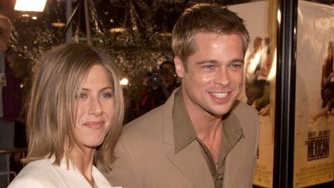 """Brad Pitt and Aniston, shown here at the premiere of """"The Mexican"""" in 2001, began dating in 1998. The pair married in 2000 and announced their separation in 2005, the same year Pitt and Angelina Jolie's """"Mr. and Mrs. Smith"""" hit theaters."""