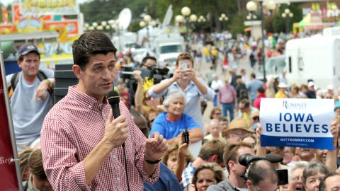 Rep. Paul Ryan of Wisconsin speaks during a campagin stop at the Iowa State Fair in Des Moines on August 13, 2012. It was the newly minted GOP vice presidential candidate's first solo stop since becoming Romney's running mate.