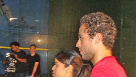 David was joined at the promotional shoot by Ramy Ashour, the Egyptian who is ranked fourth in the men's game.