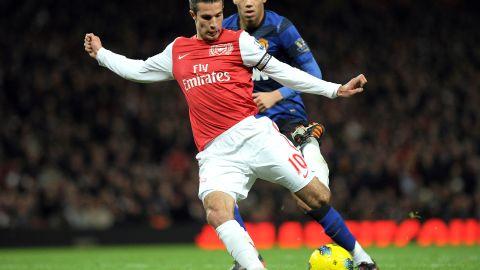 Robin van Persie scores for Arsenal against Manchester United last season