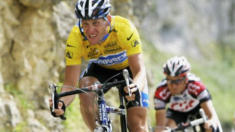 Lance Armstrong of the USA riding for the Discovery Channel cycling team and Ivan Basso of Italy from the CSC team during the stage 16 of the 92nd Tour de France between Mourenx and Pau on July 19, 2005, France.