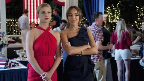 """In an episode in the first season of """"Revenge,"""" protagonist Emily Thorne, left, and her friend Ashley Davenport attended a party in the Hamptons. """"This was our 4th of July episode,"""" said Jill Ohanneson, a costume designer for the series, """"so everyone was dressed in red, white or blue. We modified Emily's red Jason Wu dress by removing the skirt ruffles as they were a bit much for her ... but the neckline was phenomenal on her. Ashley's dress was BCBG and we wanted hers to be navy as she was the event coordinator ... working the party."""""""