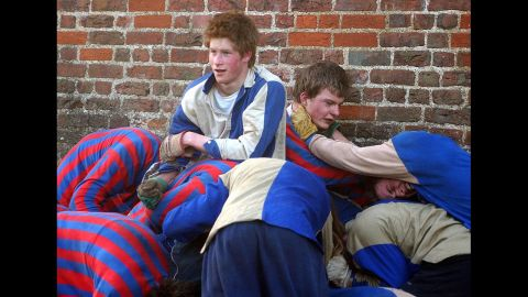 Harry takes part in the traditional Wall Game at Eton College in 2003.