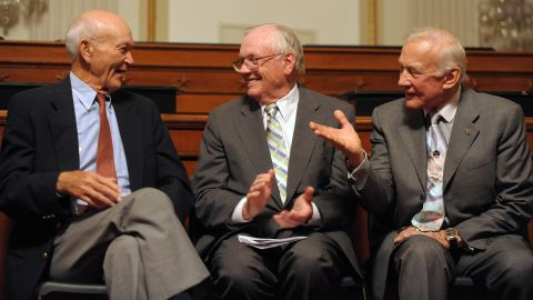 From left, Michael Collins, Neil Armstrong and Buzz Aldrin are honored during the 40th anniversary of their Apollo 11 mission.