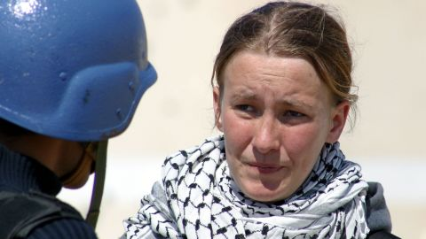 American peace activist Rachel Corrie speaks during an interview with MBC Saudi Arabia television March 14, 2003 in the Rafah refugee camp in the Gaza strip. Corrie was run over and killed by an Israeli bulldozer March 16, 2003 when she tried to stop it from destroying a Palestinian house in the Rafah refugee camp. Corrie was a member of the International Solidarity Movement.