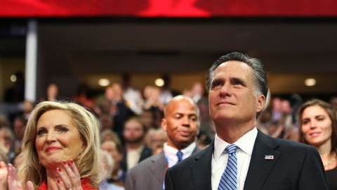 TAMPA, FL - AUGUST 28: Republican presidential candidate, former Massachusetts Gov. Mitt Romney and his wife, Ann Romney listen as New Jersey Gov. Chris Christie delivers the keynote address during the Republican National Convention at the Tampa Bay Times Forum on August 28, 2012 in Tampa, Florida. Today is the first full session of the RNC after the start was delayed due to Tropical Storm Isaac. (Photo by Chip Somodevilla/Getty Images)