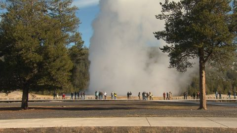 Old Faithful is one of Yellowstone's most popular geological features. Underground is an enormous plume of very hot rock which fuels every bubbling pool and geyser in the park.