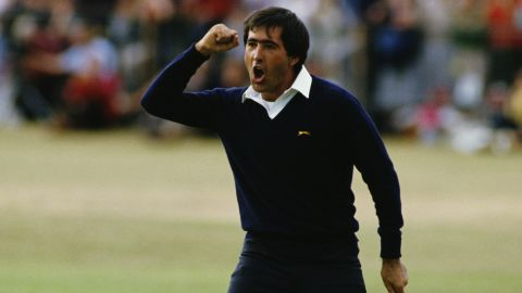 Seve Ballesteros celebrates on the 18th green after winning the 113th Open Championship on 22nd July 1984 at St Andrews.