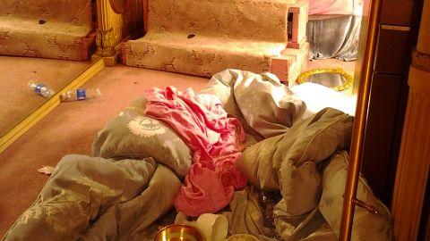 Damage inside the dressing room trailer.