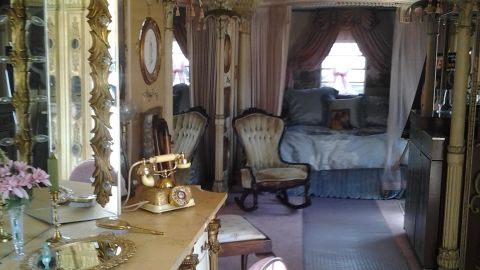 """Inside the dressing room trailer created for Elizabeth Taylor to use during the filming of """"Cleopatra"""" in 1963. The trailer's owner says it was damaged while on loan for the filming of """"Liz & Dick"""" in July."""