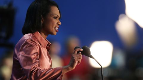 Former U.S. Secretary of State Condoleezza Rice speaks during the third day of the Republican National Convention at the Tampa Bay Times Forum on August 29, 2012, in Tampa, Florida.
