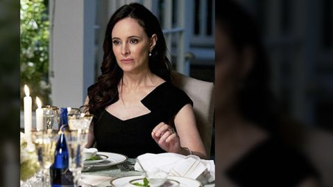 """""""Victoria's dress is by Roland Mouret, who always does interesting architectural necklines on his dresses,"""" Ohanneson said. """"I loved putting her in a black dress for her wedding anniversary dinner as she was out of sorts with her husband at the time."""""""