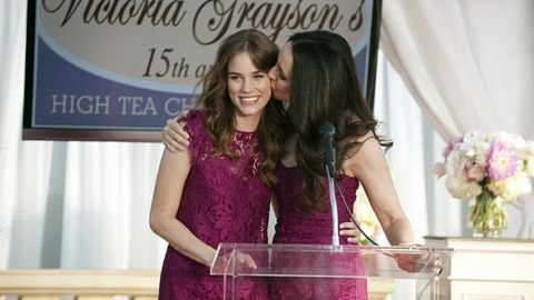 """Charlotte, left, and Victoria Grayson wore these raspberry lace Dolce & Gabbana dresses to attend """"a fancy mother/daughter tea,"""" Ohanneson said. """"I had already purchased Victoria's dress for her closet when I got the script, and I remembered that D&G had a shorter shift dress in the same fabric, which we added a ruffled cap sleeve to (for Charlotte)."""""""