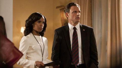 "Kerry Washington plays Olivia Pope and Tony Goldwyn plays President Fitzgerald Grant on ""Scandal."""
