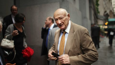NEW YORK, NY - SEPTEMBER 06:  Former New York Mayor Ed Koch exits a morning breakfast where current Mayor Michael Bloomberg discussed the growth of lower Manhattan following the attacks of September 11, 2001 at a breakfast with city leaders and members of the business community on September 6, 2011 in New York City. Lower Manhattan, the center of New York's financial district, suffered economically following the attacks as tourists left and many businesses closed or remained closed during the clean-up. In the ten years since the attacks the area has rebounded with new businesses and as one of the top tourists destinations in New York.  (Photo by Spencer Platt/Getty Images)