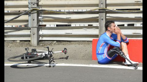 Czech Republic's Jiri Jezek reacts after winning the gold medal in the men's individual C4 time trial cycling final on Wednesday, September 5, at the London 2012 Paralympics in London.