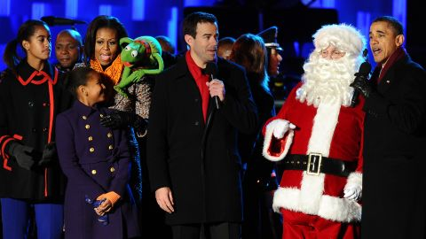 The first family sings with Kermit the Frog at the National Tree lighting ceremony in December 2011.