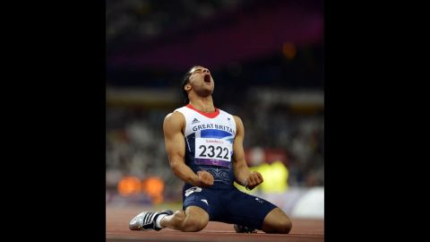 Britain's Sam Ruddock reacts after his men's 200-meter T35 round 1 athletics heat on Thursday.