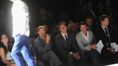 """""""Twilight"""" actor Kellan Lutz, U.S. Olympic swimmer Ryan Lochte and actors Frank Grillo and Daniel Gillies sit in the front row of the Joseph Abboud Spring 2013 fashion show."""