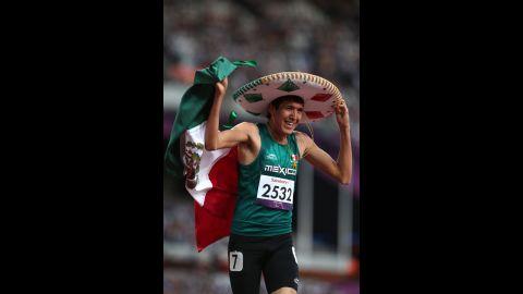 Jorge Benjamin Gonzalez Sauceda of Mexico celebrates winning bronze in the men's 400m - T12 final on Thursday, September 6.