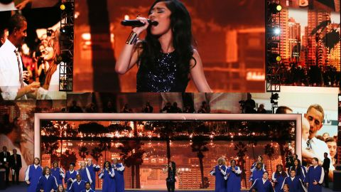 """""""American Idol"""" runner-up Jessica Sanchez performed """"All I Need To Get By"""" with the God's Appointed People Choir at the DNC on Wednesday."""
