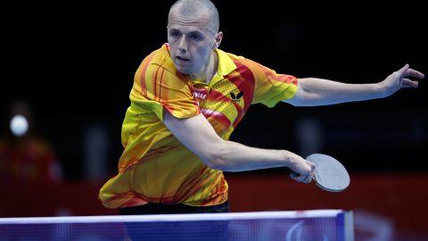Poland's Sebastian Powrozniak competes in the men's team table tennis Class 9-10 on Friday.