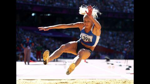 Oksana Zubkovska of Ukraine competes in the women's long jump F11/12 final on Friday.