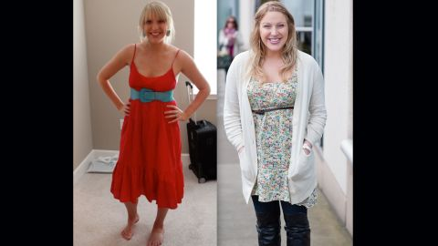 """Burke shows off her dramatic weight change due to the fertility hormones. """"This photo on the left is my body before medications at 150 lbs, and then second photo was taken the day of the second transfer, just a few weeks ago at around 180 lbs (give or take an embryo),"""" she <a href=""""http://abellyformeababyforyou.blogspot.com/2012/04/from-fit-to-fat.html"""" target=""""_blank"""" target=""""_blank"""">wrote on the blog</a>."""