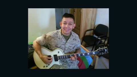 Marine Cpl. Juan Dominguez, here before his injuries, lost both of his legs and his right arm in an explosion in Afghanistan.