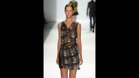 Another model walks the catwalk in a Richard Chai piece.