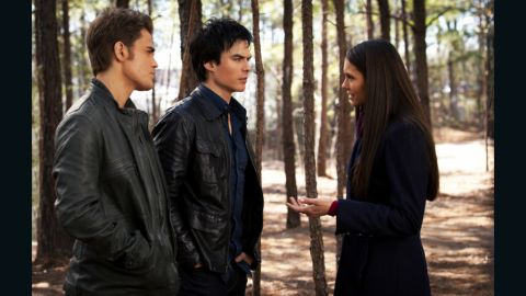 """Vampire brothers Stefan (Paul Wesley), left, and Damon (Ian Somerhalder) """"just want to blend in with regular people, so they wear what is considered contemporary for whatever time period they are in,"""" Leverett said. Stefan's leather jacket is Hugo Boss and Damon's is John Varvatos, """"which hold up really well in a supernatural fight,"""" she jokes."""